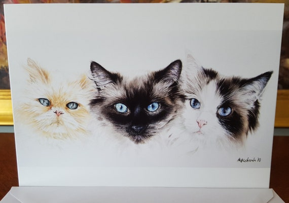 Cat Ragdoll Face Watercolour Card With Envelope