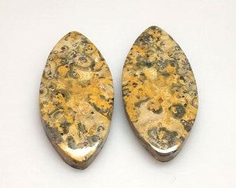 Gorgeous Designer Picture Jasper Pear Pair Designer Cabochon Natural Cabochon Size 22x14,AAA+++Quality Malachite Gemstone,Loose Gemstone..