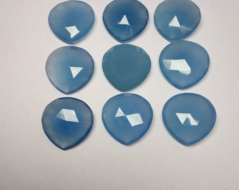 Details about  /Blue Chalcedony Loose Gemstones Heart Shape Checker Cut 6MM To 9MM AAA Quality