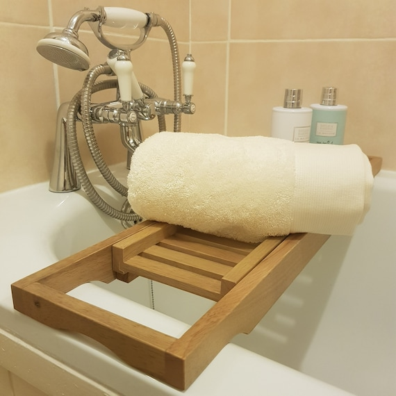 Over The Bath Wooden Rack Caddy Bridge Tablet Phone Drinks