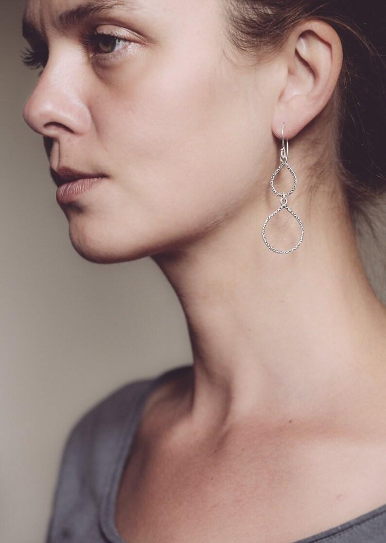 Very Long Teardrop Dangle Sterling Silver Earrings Long Lightweight Party Earrings, Casual Every Day Long Earrings