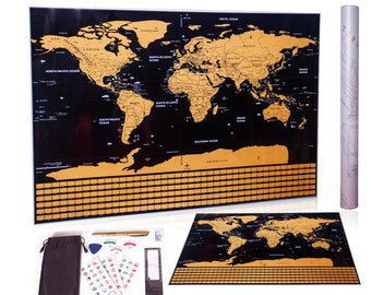 SALE! Scratch map,scratch off map,scratch off world map with US states,flag,scratch map poster,large wall map/scratch tools (black and gold)