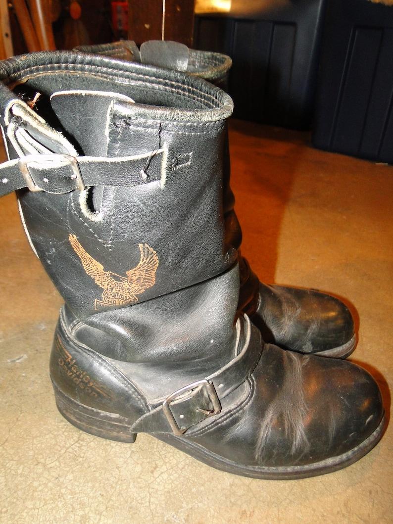 Vintage  Harley Davidson  ENGINEER MOTORCYCLE Leather black boot steel toe Sz 7.5D