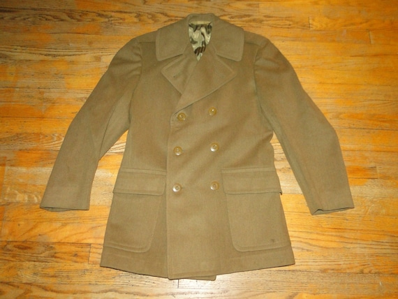 Small 40s WWII Army Coat S Belted Double Breasted Drab Green Distressed Vintage Military Trench