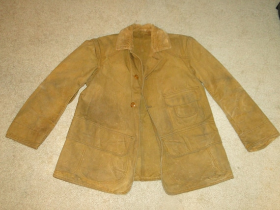 Vintage Jacket Canvas Hunting Coat Brown USA 40s W