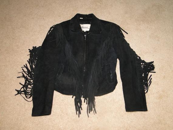 Vintage wilsons Black Suede Leather Jacket Fringe