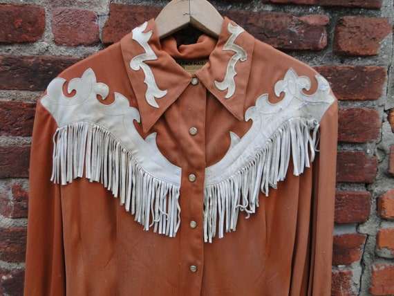 Vintage Brown GABARDINE Western Shirt Rockabilly 5