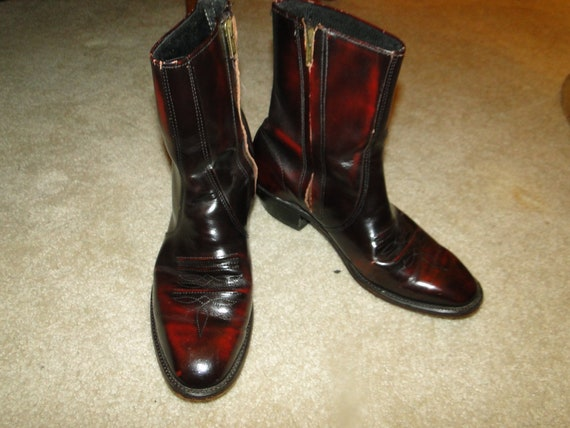 Vintage LEATHER Boots Western Men's Sz.8.5