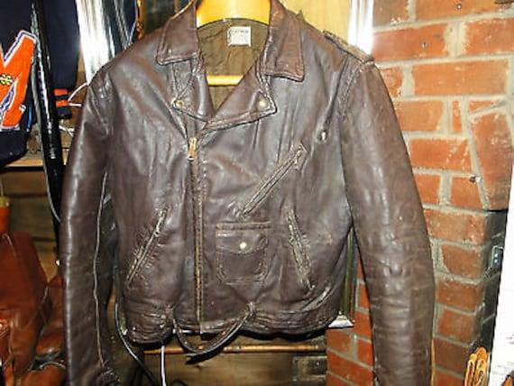 Vintage BROWN Leather Motorcycle Jacket Sz.44-46