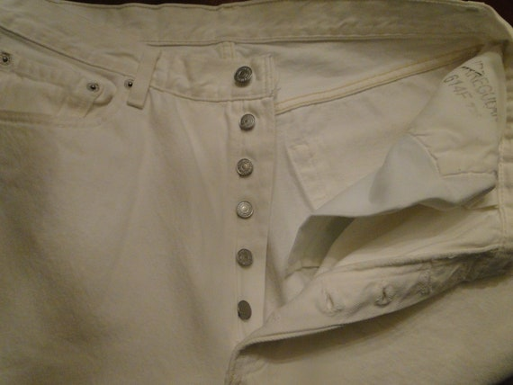 VINTAGE LEVI'S 501 White Denim Jeans work pant Mad
