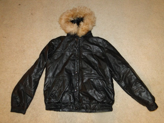 Vintage Black Leather Jacket Down Puffer 80s-90s S