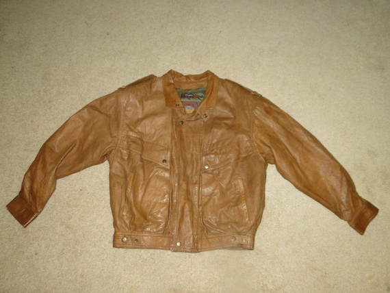 Vintage Bomber Jacket Brown Leather 80s 90s Mens S