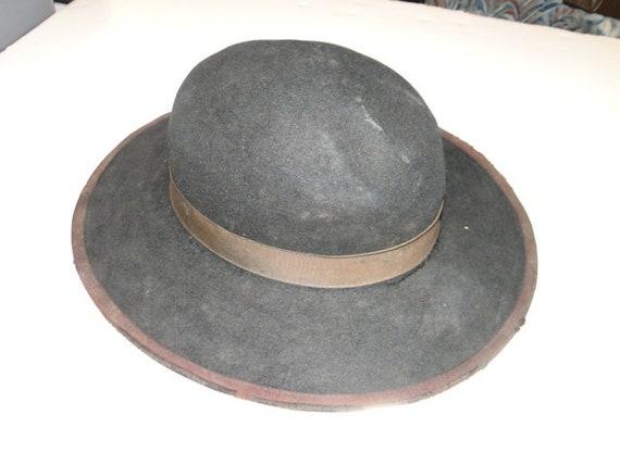 Vintage Black Fedora Hat Cowboy Western Hat Sz 6 - image 3