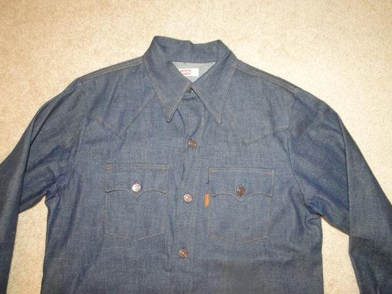 VINTAGE LEVIS denim Chambray Western shirt Orange