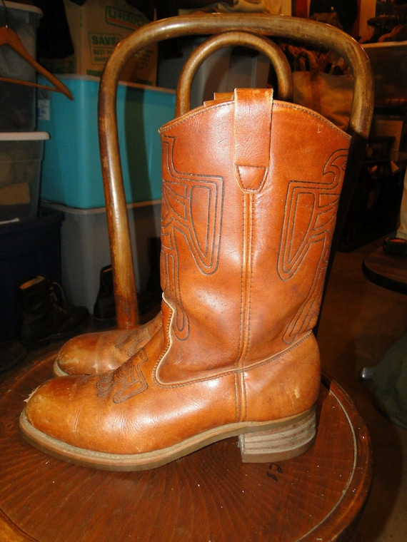 Vintage Brown LEATHER Western BOOTS 70s SIZE 9.5 D