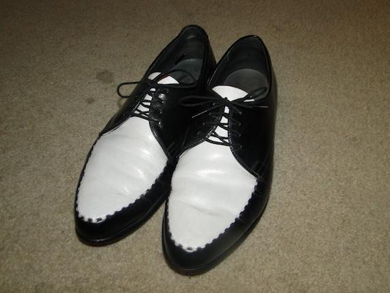 Vintage Leather Black Men's Shoes Two Tone Origina