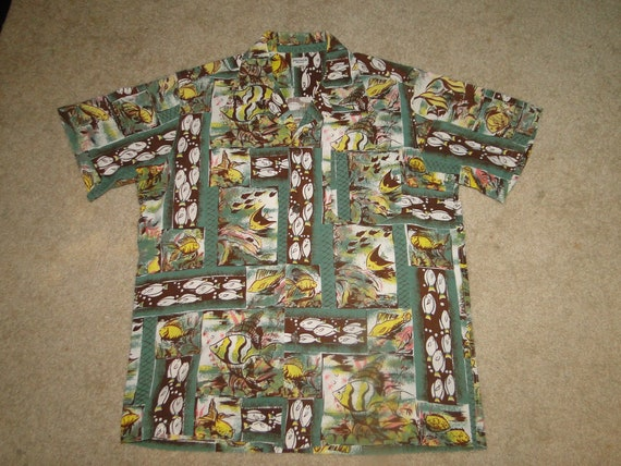 vintage  hawaiian shirt Shirt Rockabilly cotton Sz