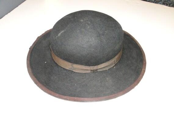 Vintage Black Fedora Hat Cowboy Western Hat Sz 6 - image 1
