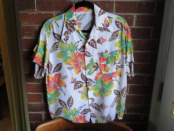 vintage Rayon hawaiian shirt Shirt Rockabilly cott