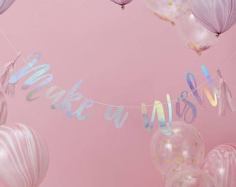 2ded882ff00b9 Iridescent Make A Wish Party Bunting / Unicorn Tassel Banner / Party  Decoration