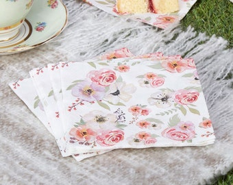 Floral paper napkins etsy floral paper napkins flower cocktail napkins small afternoon tea party napkins vintage garden party mightylinksfo