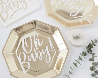 Oh Baby Gold & White Paper Plates , Baby Shower Plates , 8 Pack