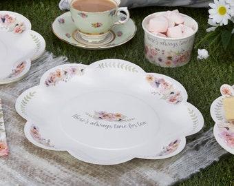 Vintage Tea Party Paper Plates , Floral Paper Plates , Afternoon Tea Party Plates , 8 Pack