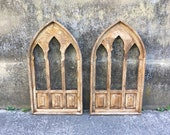 30 quot Renaissance Arch Wood Window Frame, Decorative Window, Stained Wood, Gothic, Cathedral, Church, Wall Decor, Wall Hanging