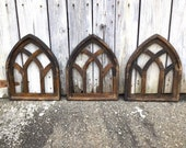 3 Mini Arch Cathedral Window Frames, Church Windows, Decorative Windows, Wood Windows, Window Wall Decor, Wood Wall Hangings
