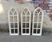 34 quot Cottage Window Frame, Arch Window, Wood Window, Decorative Window, Distressed White, Wall Decor, Wall Hanging, Farmhouse, Shabby Chic