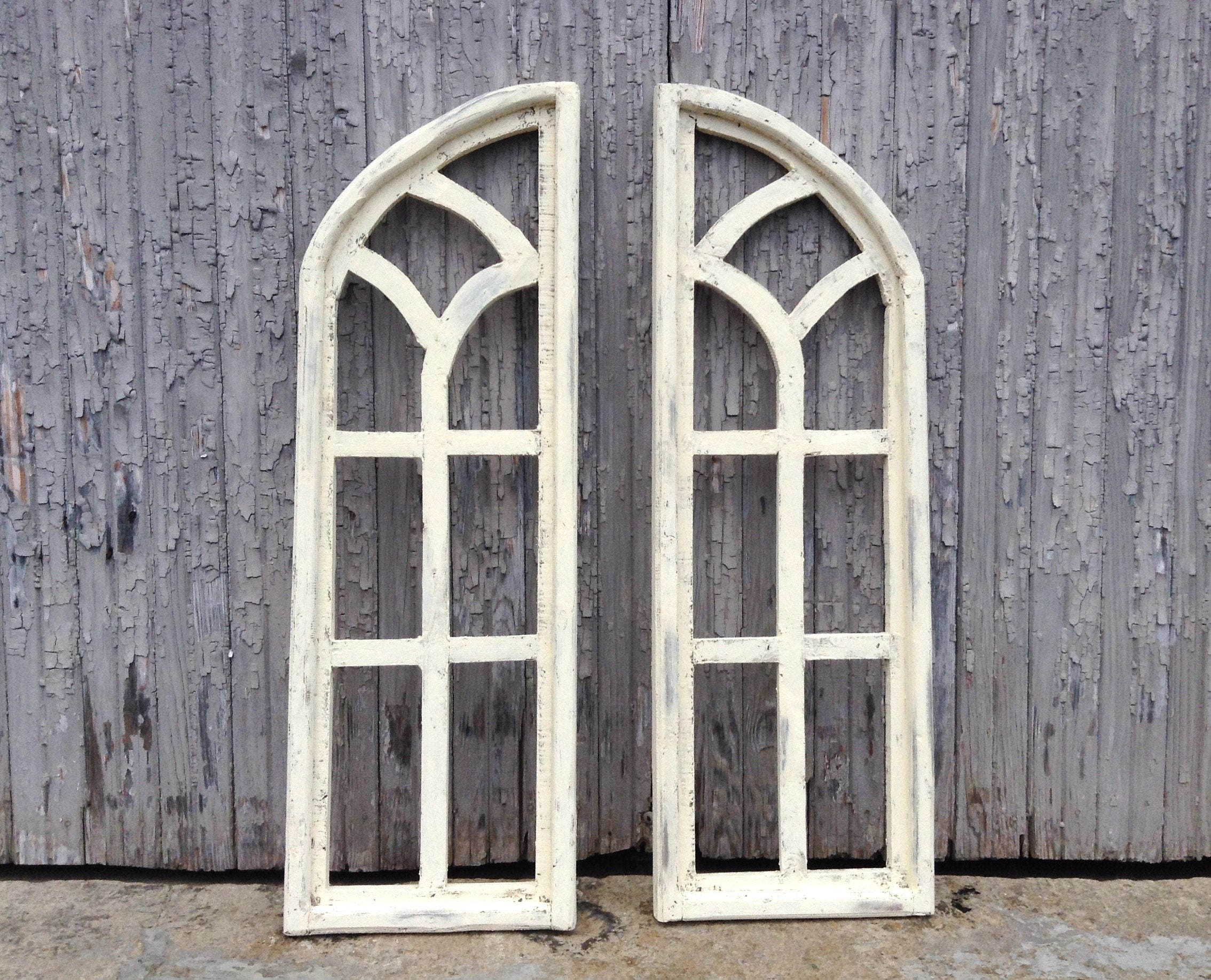 35 Arch Window 2 Piece Parchment White Wood Window Frame Wall Decor Wall Hanging Distressed Indoor Shutters Rustic French