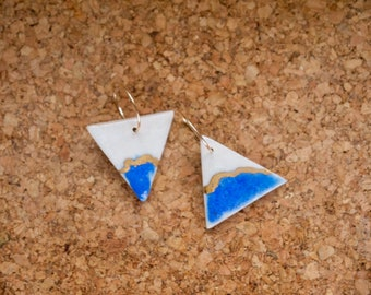 Triangle Hoop - Drop earrings | Gold hoops | 24K gold | Boho | Contemporary ceramic jewellery | Unique Gift
