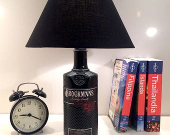 Brockman's Gin - Bottle Lamp. handmade lamp. Upcycled table lamp.