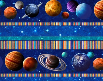 Planets, Stars, Border Stripe, Across the Universe, Northcott, By Yard