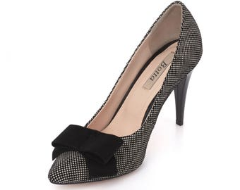 Polka Dot Heels/ Black bow shoes/ Elegant Pumps/ Comfortable stiletto/ Prom shoes/ Black and white heel/ Office shoes/ Classic high heels