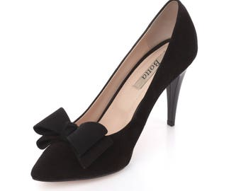 Black Suede Bow/ Classic office shoes/ Elegant heels/ Prom shoes /Black suede shoes/ Stiletto/ Handmade leather shoes/ Special occasion heel