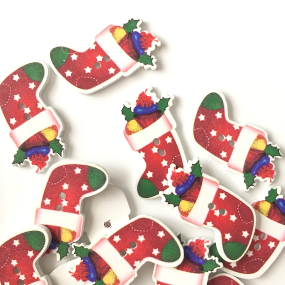 Making Christmas Stocking.Wooden Multicoloured Christmas Stocking Buttons Card Making Scrapbooking Papercraft Sewing Christmas Festive