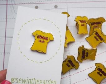Yellow sewing club enamel pin badge - sewing seamstress sewer enamel pin brooch