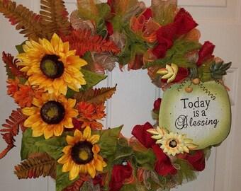 Today is a Blessing Wreath; Autumn Wreath; Fall Wreath; Sunflower Wreath