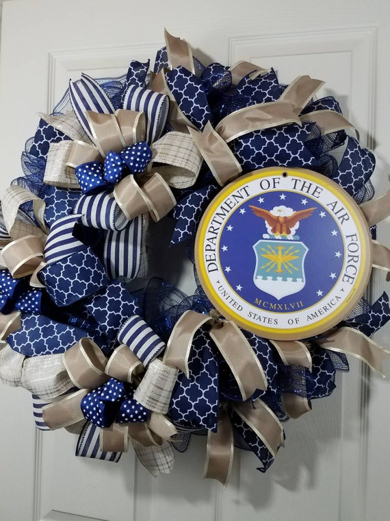 Us Air Force Military Wreath Support Our Troops Patriotic Etsy