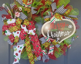 Merry Christmas Wreath; Green, Red, and Black Christmas Wreath; Christmas Wreath