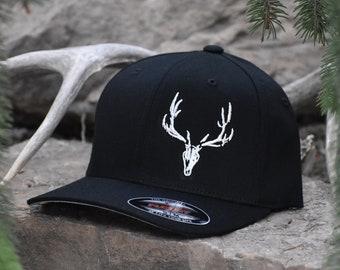 f82ea6750ee Black Flexfit Hat with White Elk Skull