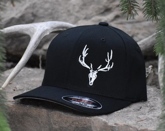 51a626158da Black Flexfit Hat with White Elk Skull