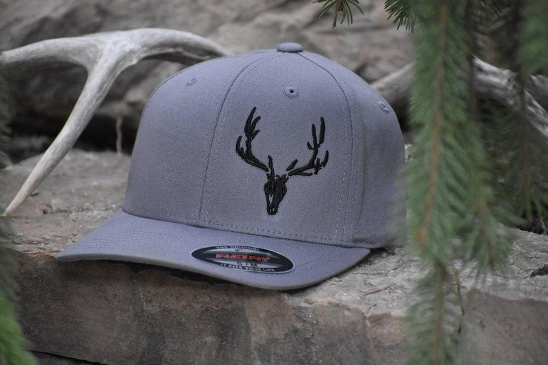 14637320de5 Gray Flexfit Hat with Black Elk Skull