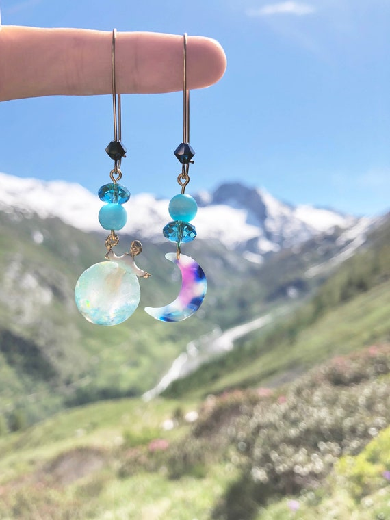 Galaxy Gift Box Included The Universe Girl Clear Bead Earrings with Glass Beads