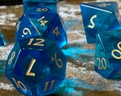Handmade Blue Glass with gold ink. PolyhedralDungeons and Dragons hexagonal Dice box vault for DnD Dice