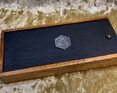 D20 Solid Wood Slide Close Dice Box, Dice Vault, Dice Tray and Holder for Dungeons and Dragons. DM Gift for DnD and Pathfinder.