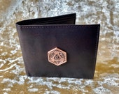 D20 Mens Brown Leather Wallet DnD Gift for Dungeons and Dragons fans