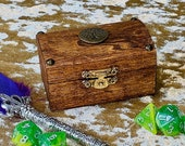 Dungeons and Dragons Tiny Solid Wood Dice Chest box and DnD Mini Box