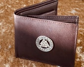 Vikings Valknut Mens Dark Brown Beautiful Nappa Leather Wallet With Coin Pouch DnD Gift for Dungeons and Dragons fans